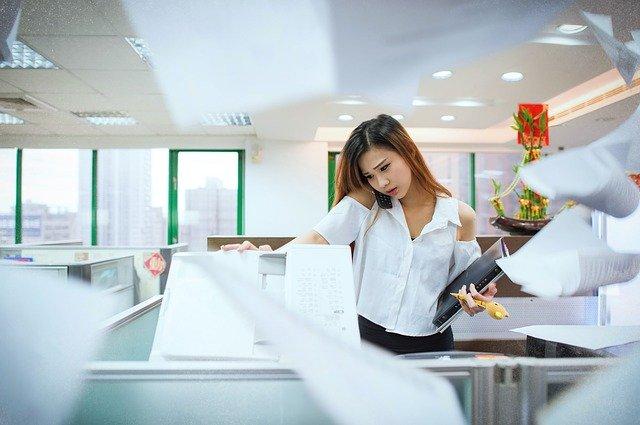 žena, kopírka, telefon, kancelář