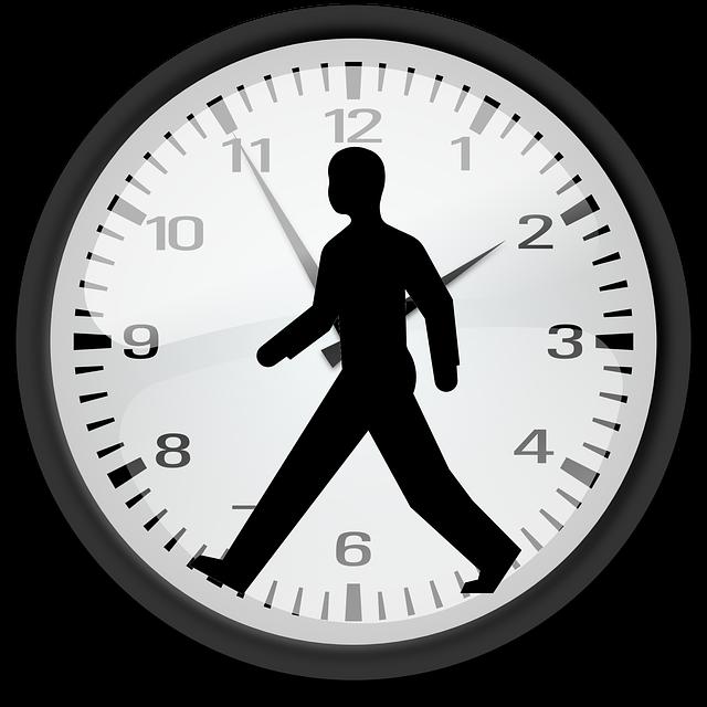 muž na hodinách