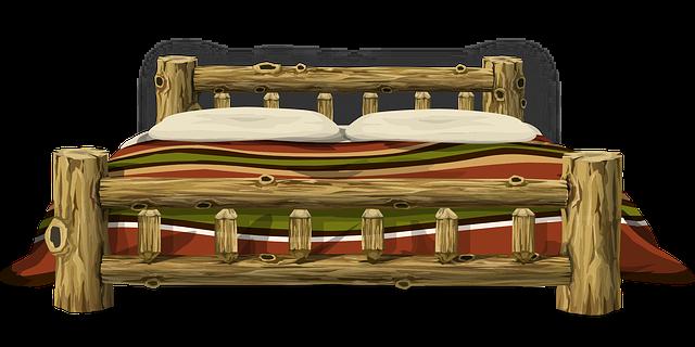 Kresba postele z masivního dřeva